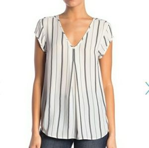 Halogen Double V top, black/ivory, XXS petite